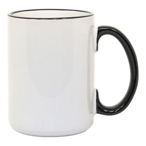 Blank Sublimation15 oz Mug - Black Rim and Handle