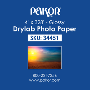 "Picture of Pakor Drylab Paper, 4"" x 328' - Glossy (4/cs)"