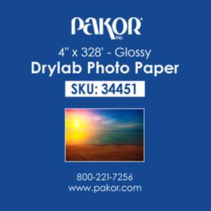 "Picture of Pakor Drylab Paper, 4"" x 328' - Glossy (4/cs)"