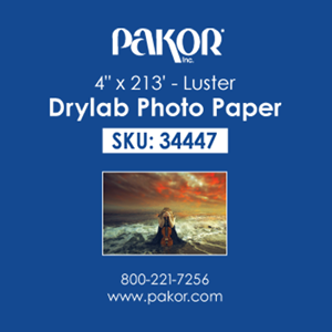 "Picture of Pakor Drylab Paper, 4"" x 213' - Luster (2/cs)"