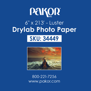 """Picture of Pakor Drylab Paper, 6"""" x 213' - Luster (2 rolls/case)"""
