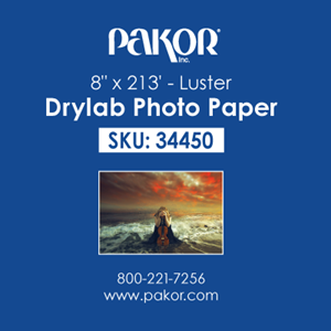 "Picture of Pakor Drylab Paper, 8"" x 213' - Luster (2/cs)"