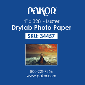 "Picture of Pakor Drylab Paper, 4"" x 328' - Luster (4/cs)"