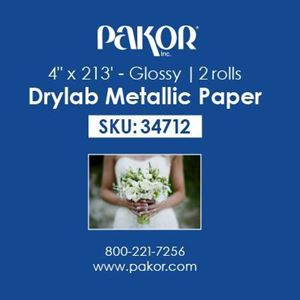 "Picture of Pakor Drylab Metallic Photo Paper, 4"" x 213' — Glossy"