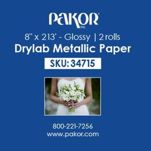 "Picture of Pakor Drylab Metallic Photo Paper, 8"" x 213' — Glossy"